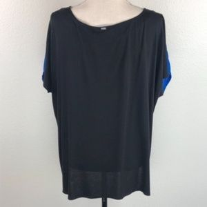 St. John Tops - St. John Blue Split V neck Tassel Silk Blouse